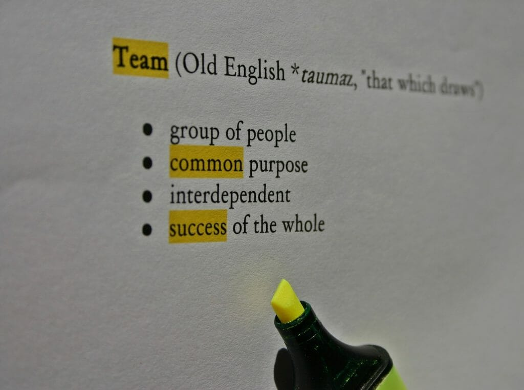 Team English Definition Declaration